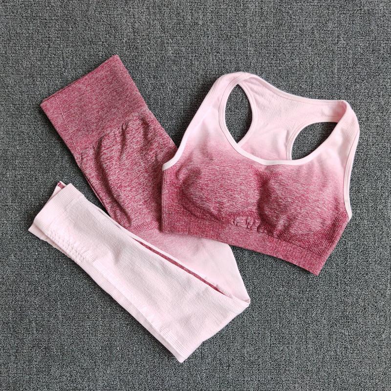 Ombre Set Yoga reggiseno sportivo e ghette delle donne di ginnastica Set abiti senza cuciture allenamento fitness sportivo Fitness Sport Suit sportivo V200415
