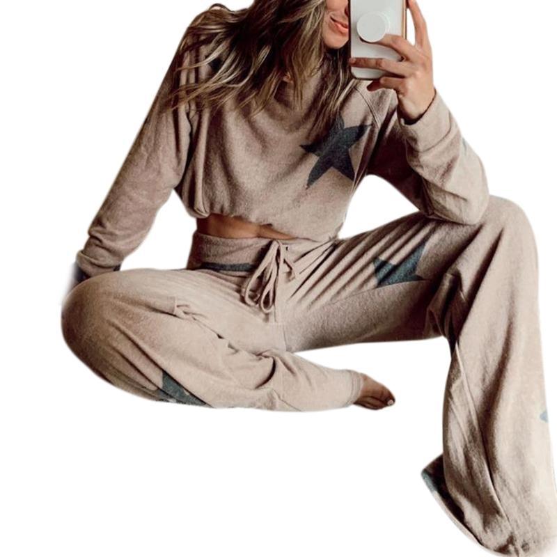 2Pcs Женщины Tracksuit Pentagram печати Брюки Комплекты одежды для отдыха Lounge Wear костюм