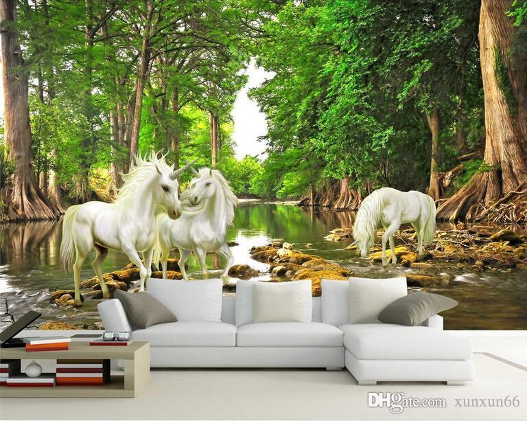 Custom 3D Mural European Myths Unicorn In The Forest River Photo Wallpaper Living Room Sofa Backdrop Wall Paper Home Decoration