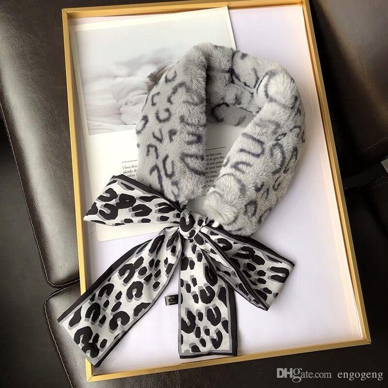 Moda CALIENTE cuello de felpa cuello de piel caliente Otoño e invierno bufanda de imitación de piel de conejo color cintas de leopardo
