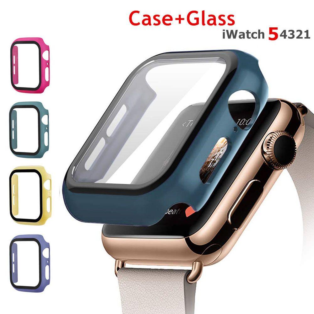 الغطاء الواقي الزجاج المقسى + الحال بالنسبة لشركة آبل ووتش 5 4 44mm و40MM شاشة حامي iWatch 3 2 1 42MM 38MM