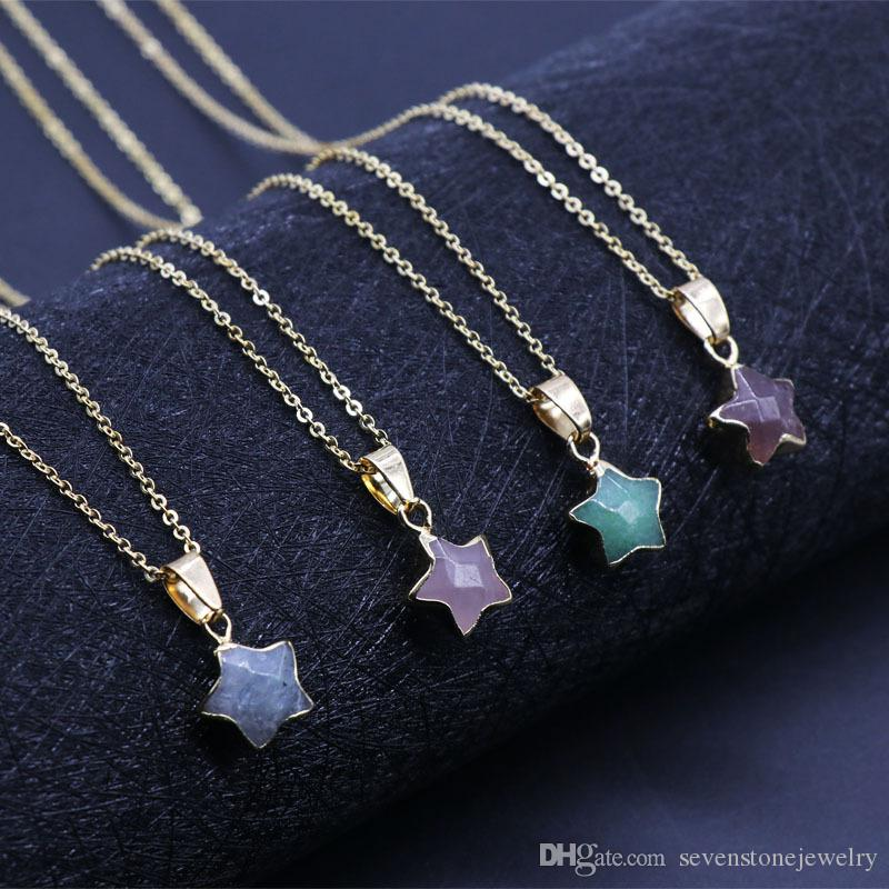 Pietra cinque stelle uomini e donne squisito temperamento cristallo buona fortuna collana pendente in acciaio inox regalo