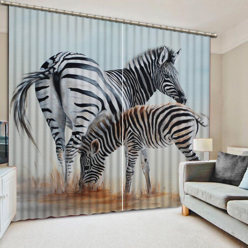 Ventana 3D Tamaño de foto 3D cortina dos fondo Color cebra cebra dormitorio del patrón del apagón tela de la cortina