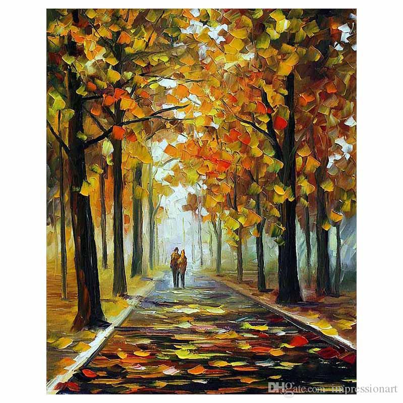 """30""""x40"""" Hand-painted Red leaf tree canvas oil painting forest road sofa background wall painting staircase porch decorative painting"""