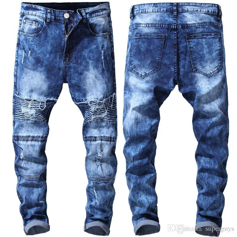 Distressed hommes Jeans Mode Hommes Ripped Slim Skinny Jeans Moto Moto Biker causales Hommes Denim Pantalons Hip Hop Hommes Jeans 1922