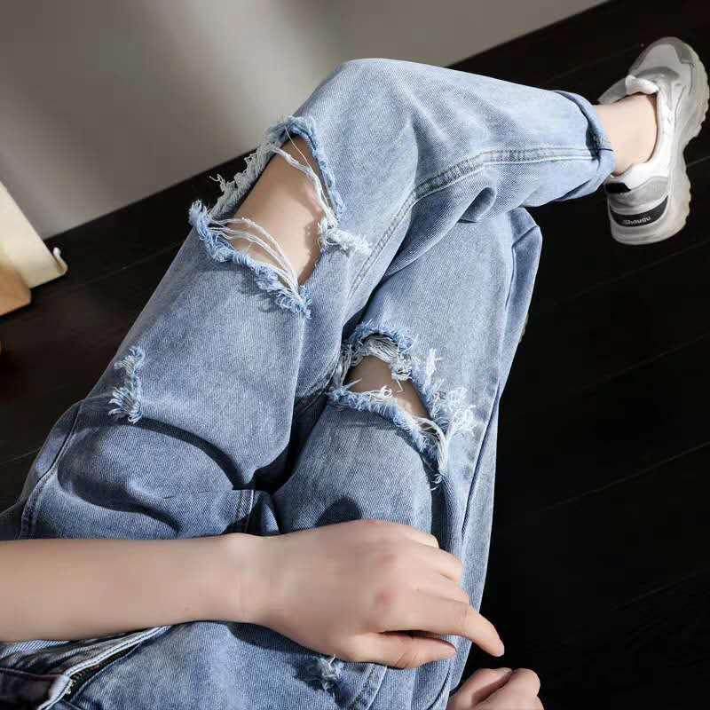 2020 Sommer-neues Korea Art und Weise Frauen-hohe Taillen-Weinlese zerrissene Jeans-All-abgestimmte beiläufige lose Denim-Harem-Hosen plus Größe S862