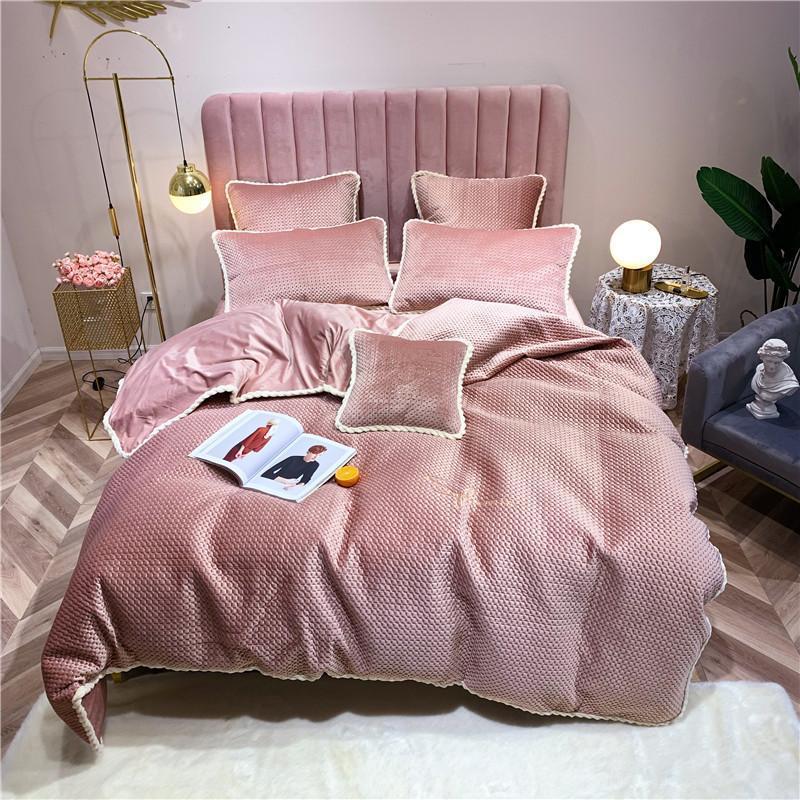 J2 J / 7pcs sólido Folha Cor Velvet cama Set Duvet Cover fronha Rei Rainha Twin tamanho Branco Gray Bed rosa Linho