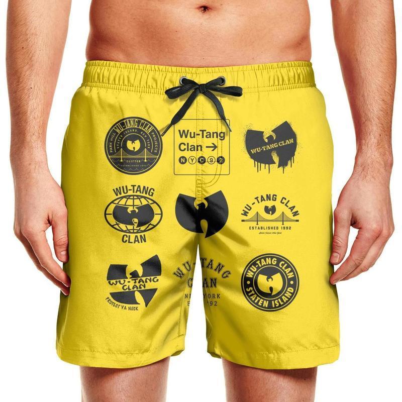 Herren Badehose wu tang Clan Symbol Sport Jogging Strand Board Shorts besten Wu Tang Clan Logo ya Hals Samurai ODB RZA Besatzung schützen