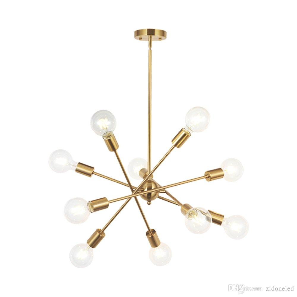 Modern Sputnik Chandelier Lighting 10 Lights With Adjustable Arms Mid Century Pendant Lighting For Foyer Living Room Kitchen Lighting Brass Pendant