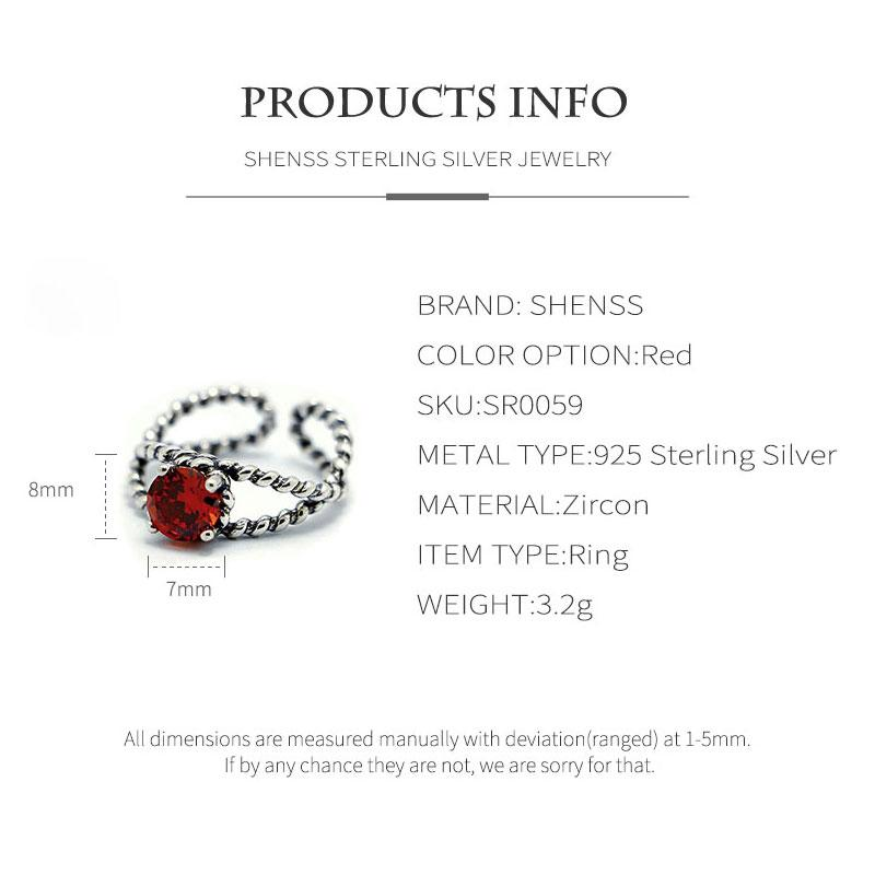 Elegant Quality 925 Adjustable Rings Vintage Thai Silver Red Zircon Twist Ring 925 Sterling Silver Ring for Women