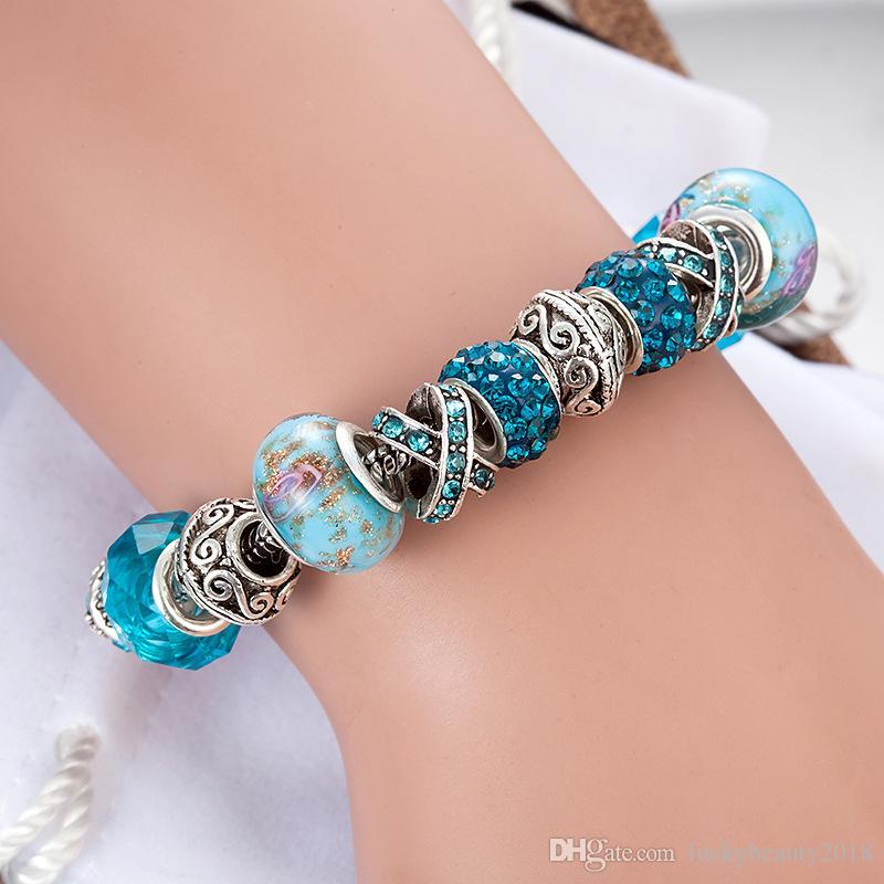 Blue magic beads bracelet 925 silver Pandora bracelet crystal magic beads bracelet Pandora gold beads as Diy jewelry gifts