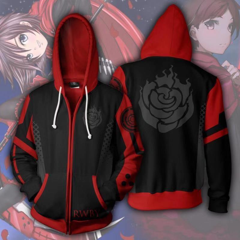RWBY Unisex Anime Sweat à capuche Sweatshirts Décontracté Manteau Zipper Veste Cosplay Costume