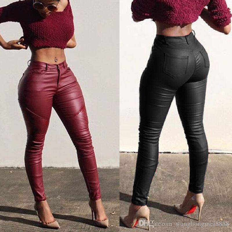 Seksi Kadınlar Bayanlar Deri Sıska Orta Bel Tayt Sıkı Kalem Pantolon Katı PU Deri Uzun Pantolon Pantolon
