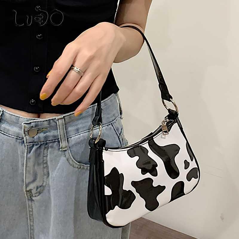 pequena vaca de leite baguette das LUCDO Moda mulheres Imprimir feminina bolsa de ombro mensageiro bolsas femininas de couro