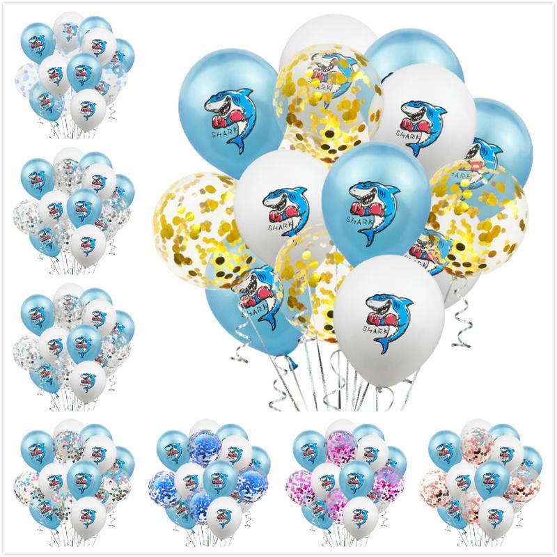 15pcs çok 12inch Köpekbalığı Lateks Balon Glitter Konfeti Baloons Çocuk Doğum Parti Malzemeleri balonlar süslemeler