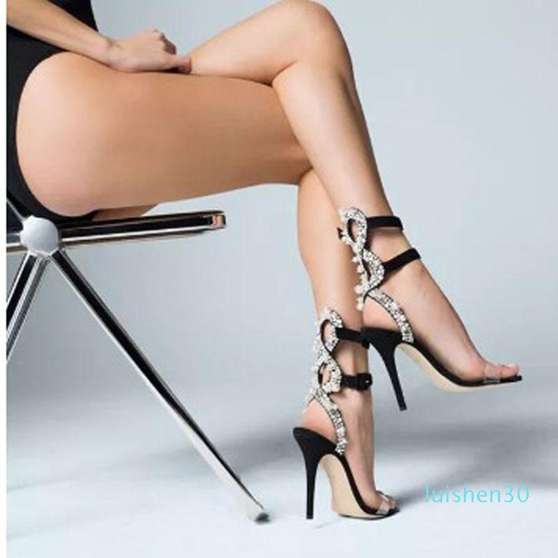 Sıcak Satış-Siyah Deri Kristal İnci Süslenmiş Yüksek topuk Sandal İçin Kadınlar Bilek Toka Kayış PVC Yüksek topuk ayakkabı L30 Kesim-ut