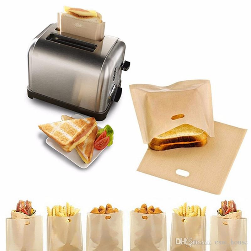 تفلون محمصة حقيبة قابلة لإعادة الاستخدام شطائر الجبن المشوي حقائب غير عصا خبز خبز توست حقائب مطبخ مخزن خبز توست حقائب