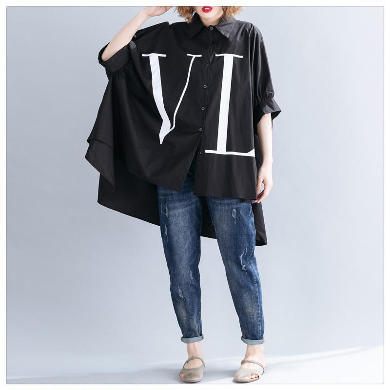 Sommer-Frauen-Hemd-Revers-Kragen-Flügel-Hülsen-Knopf lose beiläufige Buchstabedruck Bluse Top Female Fashion New 2019 Tide Schwarz