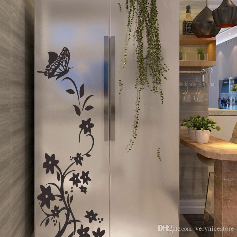 2020 NEW 크리 에이 티브 홈 거실 벽 스티커 홈 룸 나비 벽 데칼 예술 장식 꽃 덩굴 벽 벽화