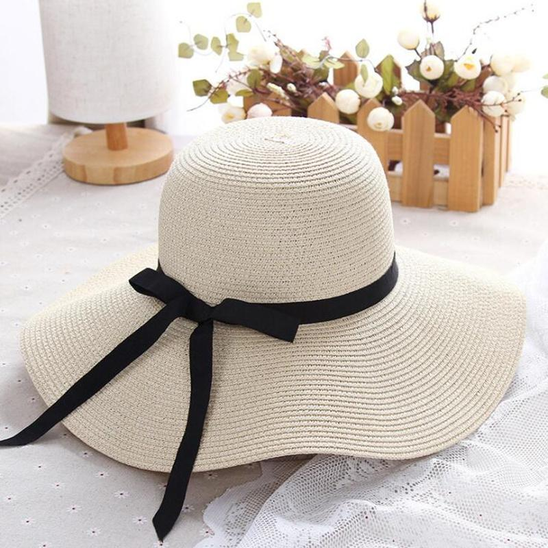 XUYIJUN verano sombrero de paja mujer gran ala ancha playa sombrero sol bloqueador solar protección UV panama hueso chapeu feminino
