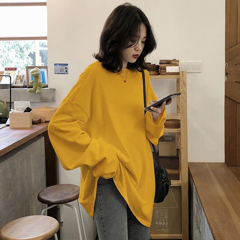 Primavera Sólidos simples Plus Size Womens Camiseta manga longa Amarelo Branco Verde Preto Camisa Casual Top Para Mulheres M 2XL