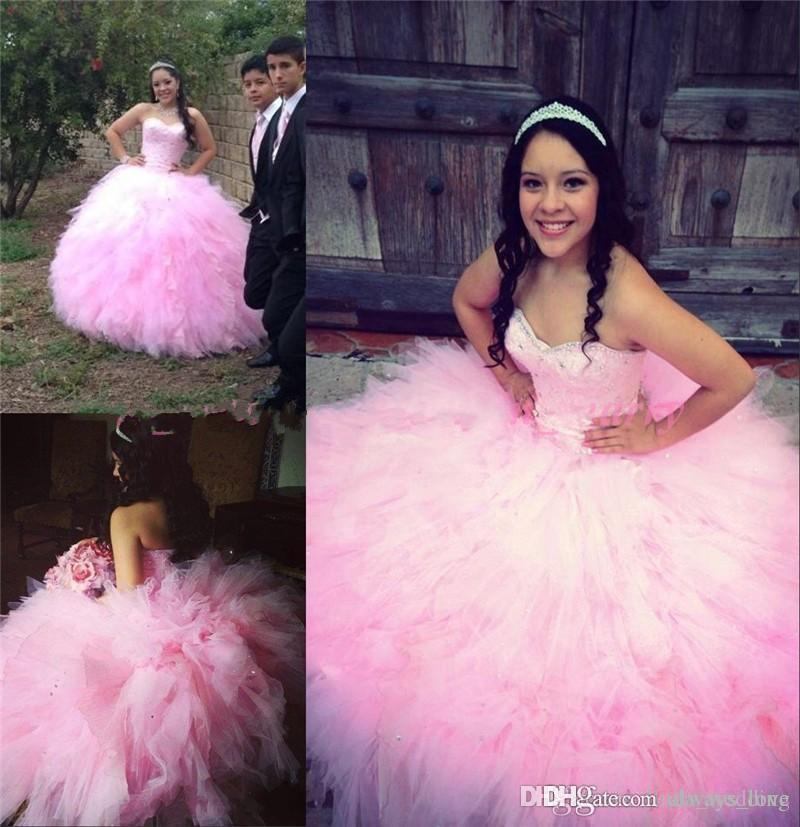 2019 New Pink Ball Gown Quinceanera Dress Princess Sweetheart Ruffles Sweet 16 Ages Long Girls Prom Party Pageant Gown Plus Size Custom Made