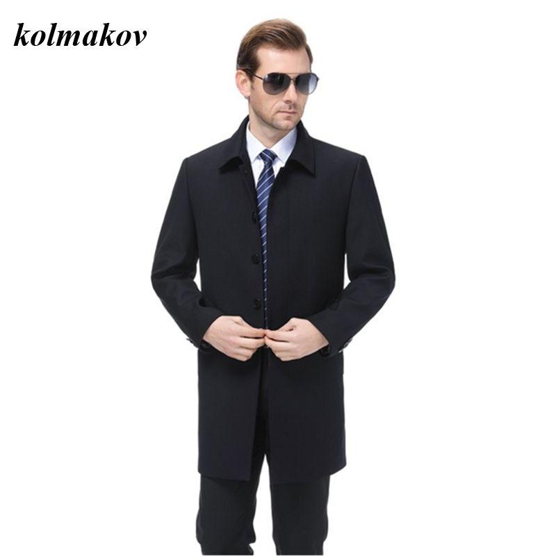 Boyut M-4XL Palto 2020 Yeni Geliş Stil Erkekler Butik Trençkot İş Casual Katı Kapsanan Düğme Erkek Siyah Ceket