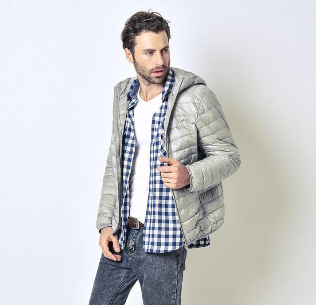 Moda-s invierno prendas de vestir exteriores del color sólido del cuello de equipo de la cremallera de la moda con el sombrero fino de manga larga Hombre Ropa