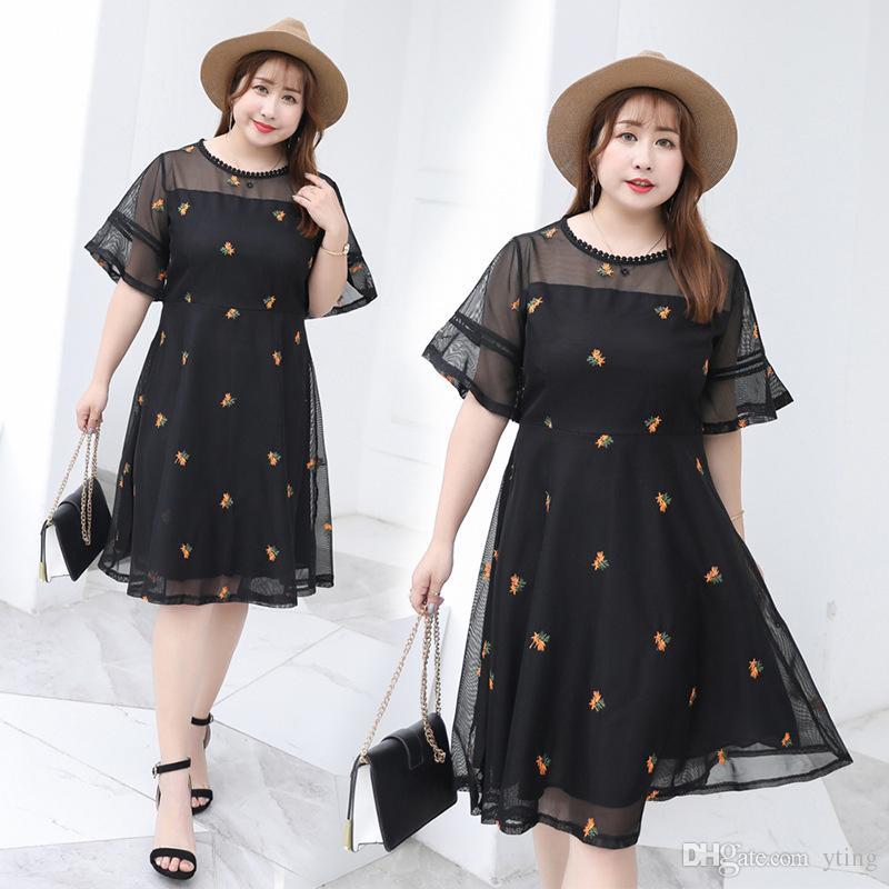 Большой размер женское стройное тело тонкая юбка лето сетка марля вышивка шифон платье XL-4XL бесплатная доставка