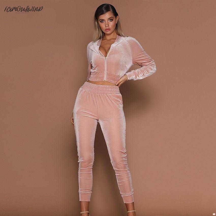 가을 새로운 여성 2PCS 짧은 지퍼 후드 스웨터 허리 바지 벨벳 여자의 운동복 Elasic 캐주얼 정장을 설정합니다