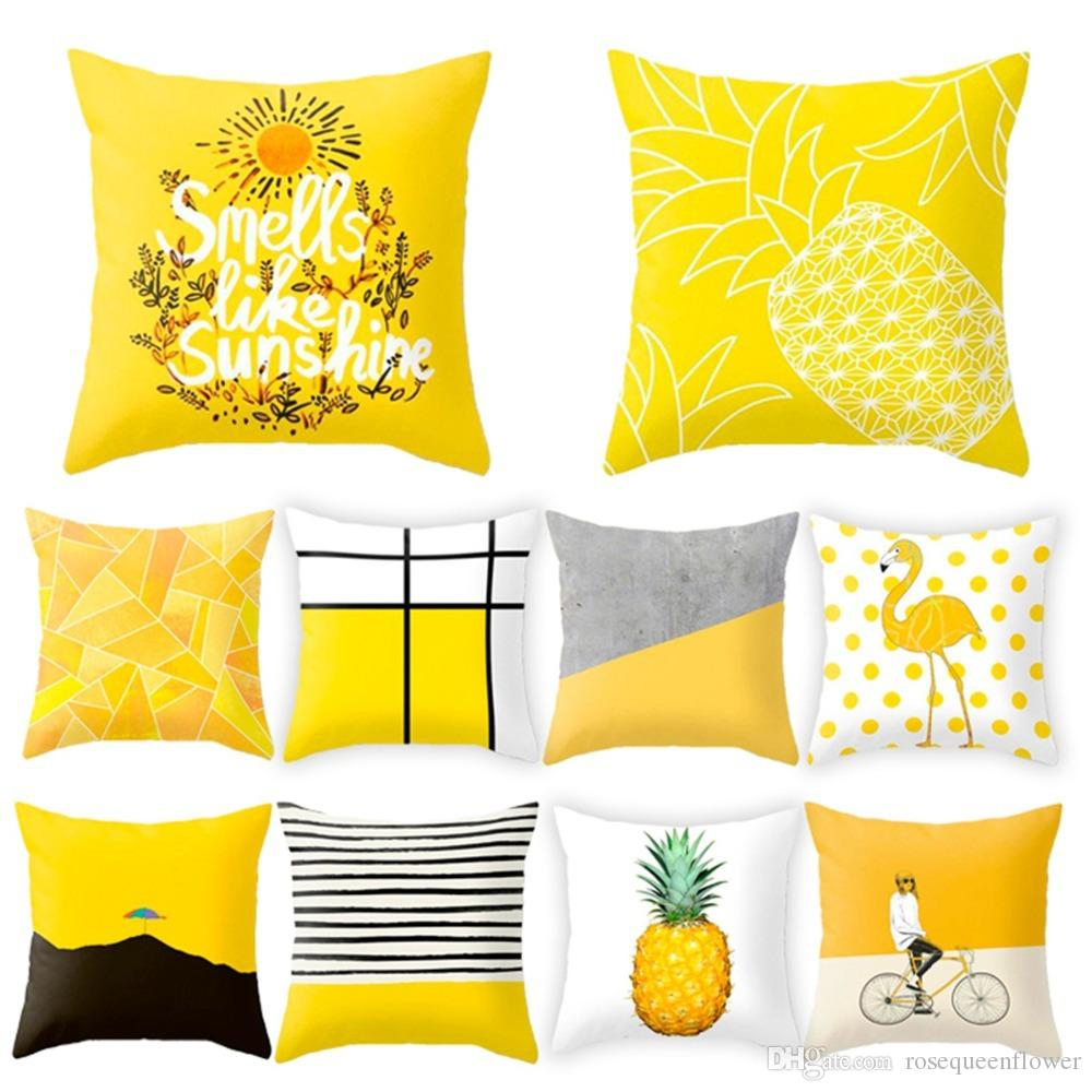 45*45cm 20 Colors Yellow Striped Pillowcase Geometric Throw Cushion Pillow Cover Printing Cushion Home Bedroom Office Decor
