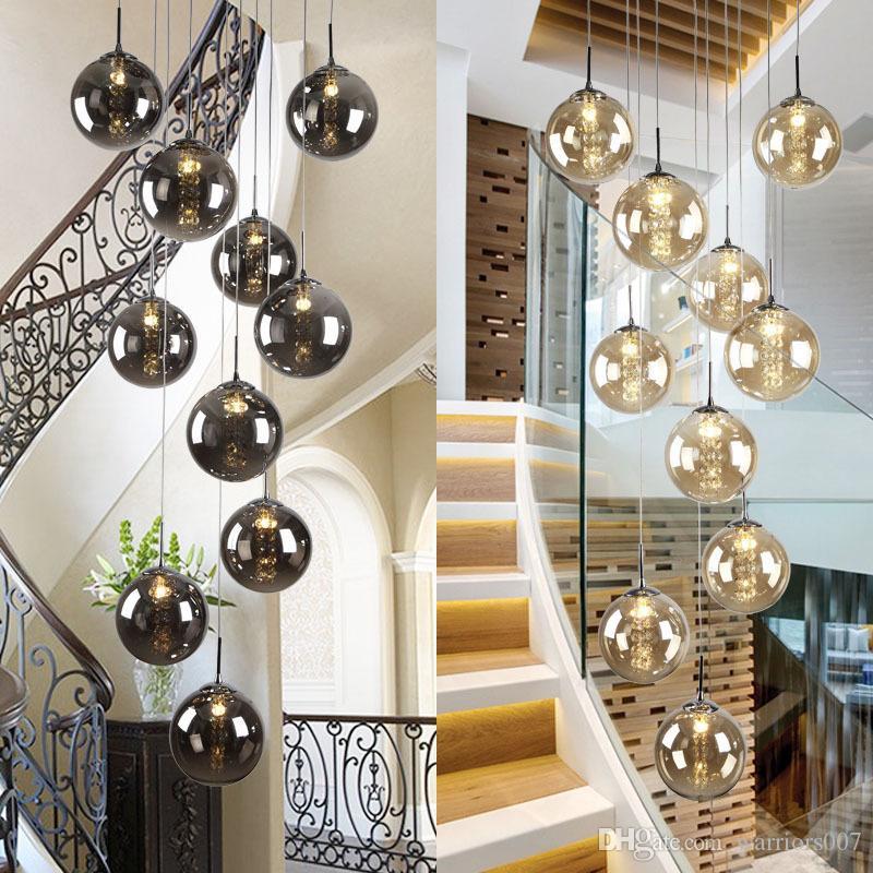 Hohe Villa Entryway Orb Glas Treppen Hänge Spiral Lange Lampen Moderne Kristall-Korn-Treppe Kronleuchter Für Privatanwender