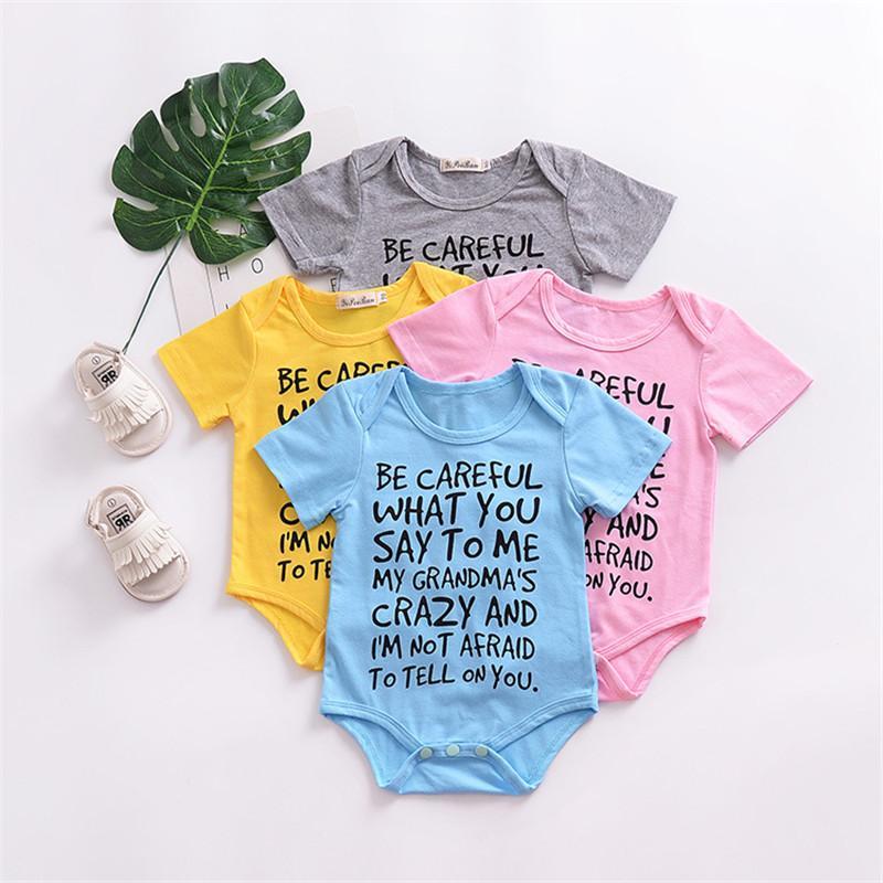 Pagliaccetti del bambino dei ragazzi delle ragazze tuta estate neonato cotone colore solido corta Abbigliamento manica pagliaccetti Body bambini 4 colori Y105