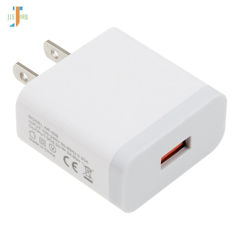 50pcs / lot Einzel USB-Ladegerät 2A Schnelllade Travel US-Stecker-Adapter Tragbare Wall Charger Handy-Kabel für iphone Samsung Xiaomi