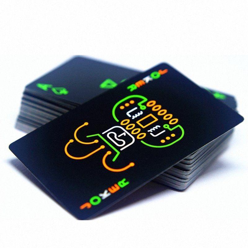 Schwarz Luminous Fluorescent Poker Karten Spielkarte Glow In The Dark-Stab-Partei KTV Nacht Running Wear Sport Outdoor Bekleidung Lumin DGRE #