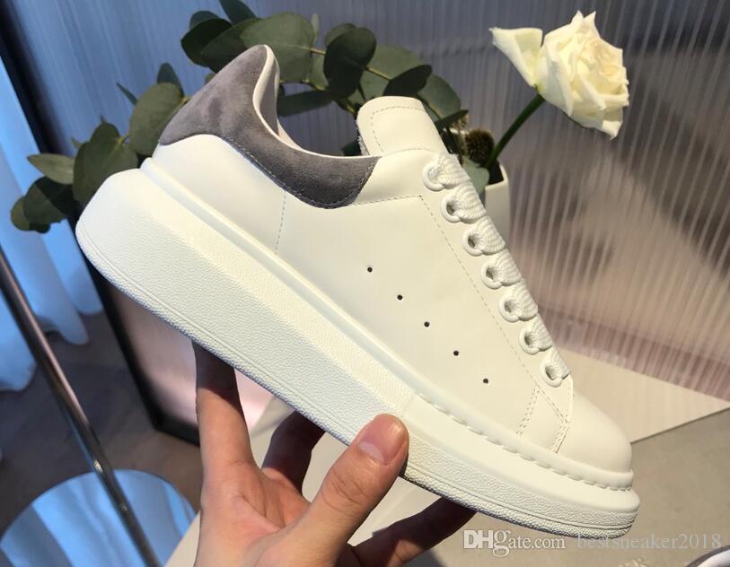 Männer Frauen beiläufigen Turnschuh-Qualitäts-neue Persönlichkeit chaussures weiße Leder-Sneaker-Walking-Schuhe mit Kasten