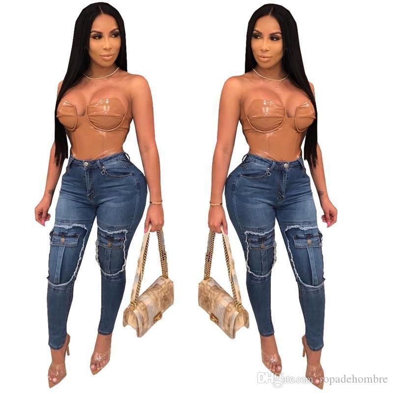 European American Frauen-Jeans-Mode Panelled gefälschte Taschen mit hoher Taille elastische dünne Lange Jeans Damen Designer Jeans