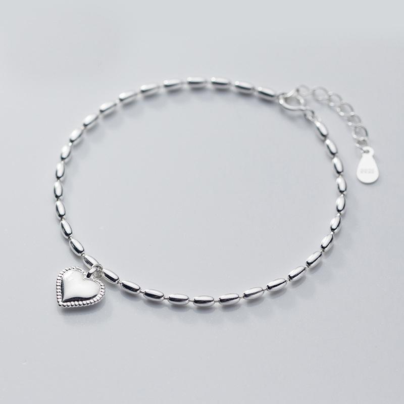 مجوهرات MloveAcc 925 فضة الأزياء ريترو ستايل لطيف الحلو قلب سحر سوار الأزياء الكورية للنساء بنات سيدة المتحركة