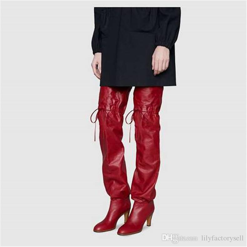 Fashion Woman Black Knee The Long Shoes Loose Boots Winter Overknee Heels Over High Thigh Snow Comfortable Women j354RAL