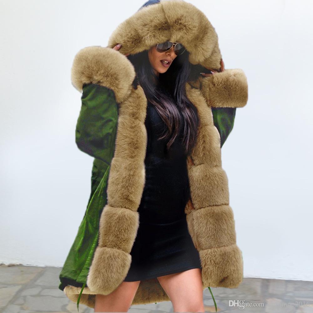 Зимняя куртка для Женщина с капюшоном искусственного меха Подкладка Теплое пальто ветровки Куртки и пиджаки Зимний Длинные куртки Плюс Размер