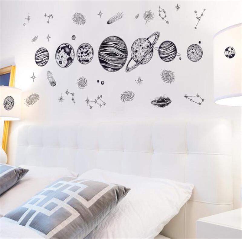 Adesivi murali Spazio Planet Sketch - Adesivi da parete per camera da letto,, decorazione della parete impermeabile, 121 * 54 cm