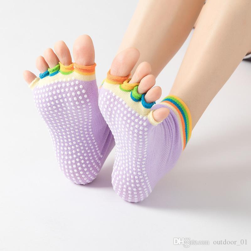Meia Toe Meias de Ioga Trampolim de Silicone Profissional Não-deslizamento Meias Dedos Sports Fitness Suor das Mulheres Quatro Estações