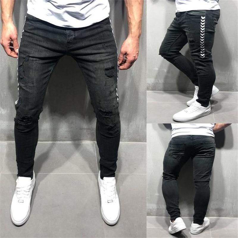 Мужские Hombres Конструктор Джинсы Летние Hiphop Скейтборд Длинные брюки карандаш моды Street Style Ripped Промытые Брюки