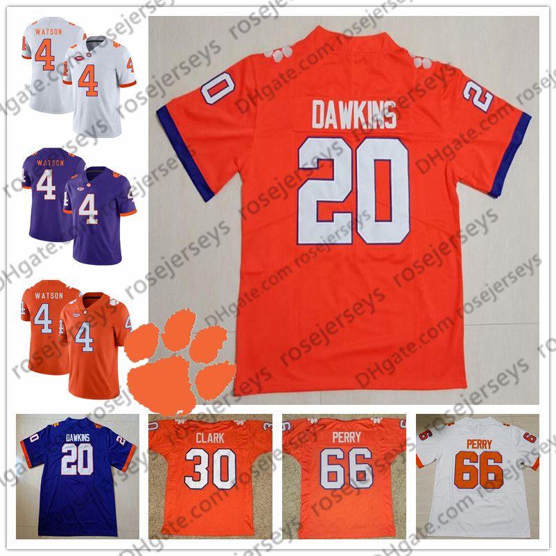NCAA Clemson Tigers # 20 Brian Dawkins 30 Dwight Clark 66 William Perry 4 Deshaun Watson Steve Fuller aposentado Laranja Roxo Branco Jersey