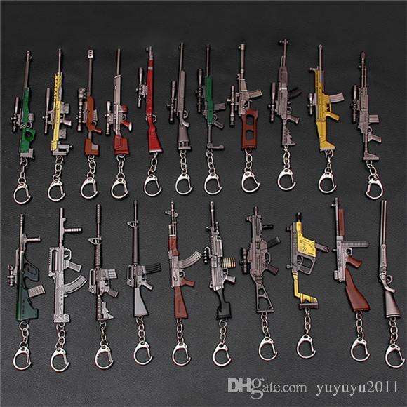 37Styles Erkekler Hediyeler eşyalar csgf01 için 2020 Sıcak Oyun PUBG CS GO Silah Anahtarlık AK47 Gun Modeli 98k Sniper Rifle Anahtarlık Ring