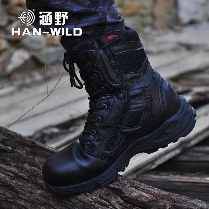 رجل التمهيد عسكرية للجيش حقيقي جلد خمر الرباط حتى أحذية السلامة للماء القتال أسود الصحراء التكتيكية أحذية الكاحل الرجال T200305