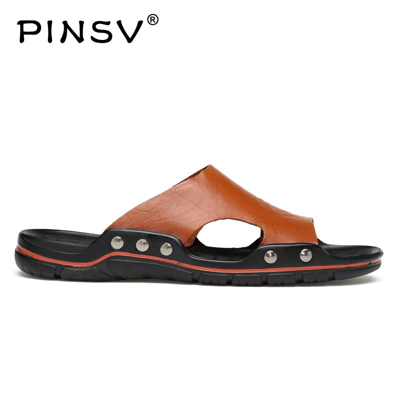 Pinsv Summer Men Slippers Leather Casual Shoes Black Fashion Beach Slip-On Chinelo Masculino Sandals Size 38~48