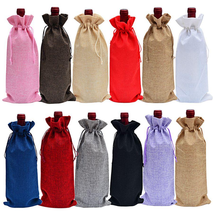 Bottiglia di vino iuta Covers Champagne Vino ciechi sacchetti impaccanti del regalo di Natale Wedding Dinner Table Decorare 16x36cm RRA2052
