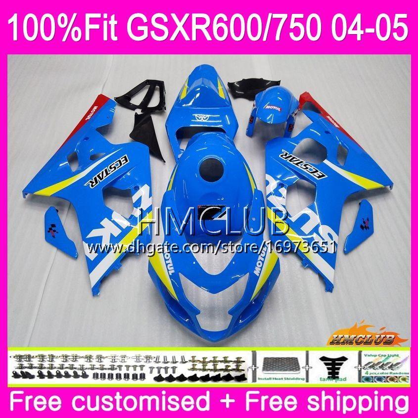 Injection Body For SUZUKI GSXR 750 GSX R600 R750 K4 GSXR600 04 05 GSX-R600 5HM.0 GSXR-750 GSXR 600 GSXR750 2004 2005 Fairing Factory blue