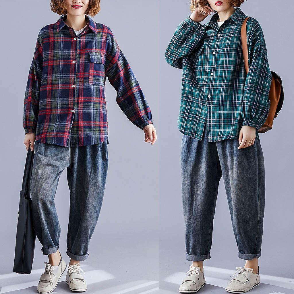 Pulsante Donne Camicetta Womens camicia a maniche lunghe Giù Plaid Cotone Lino Con Pocket camicetta superiore